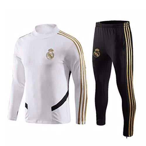 Conjunto de Sudaderas de Fútbol para Hombres Sudadera Blanca del Real Madrid CF Camisetas de Manga Larga para Entrenamiento de Fútbol para Adultos Ropa Deportiva