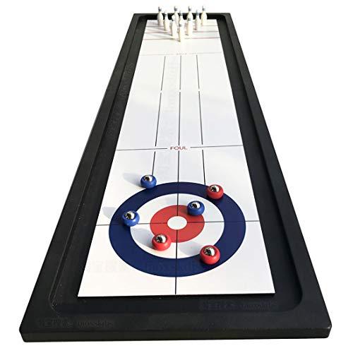 BYBYC 40 Zoll Falten 2 in 1 Bowling & Curling Spielen für Familien, Fun Family Games Table Top Compact Curling-Brettspiel-Set für Kinder und Erwachsene mit,40 inches
