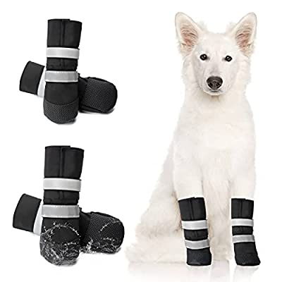 OHCOZZY Waterproof Dog Boots Paw Protector, Anti-Slip Dog Shoes with Adjustable Relective Strap for Small Medium Large Dogs 4 Pcs (S, Black)