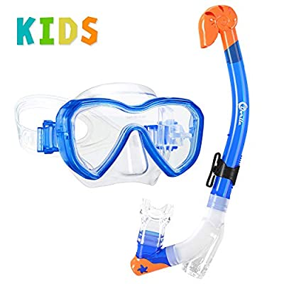 Dorlle Kids Snorkel Set Snorkel Mask with Premium Dry Snorkel and Anti-Fog Anti-Leak Diving Goggles Snorkeling Packages Professional Snorkel Set for Children Kid(Blue)