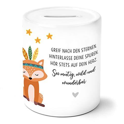 OWLBOOK Boho Fuchs Kinder Spardose Geschenke Geschenkideen für Jungs Jungen zum Geburtstag Weihnachten Einschulung Taufe Geburt Sparschwein