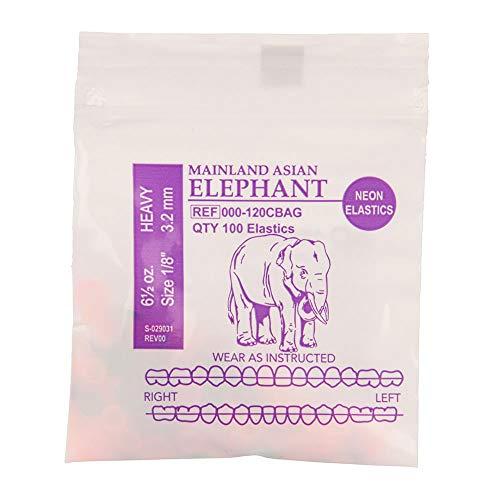 "American Orthodontics Elastics Wildlife Elephant | Assorted Neon, Heavy, 6.5 Oz, 1/8"" Size, 75 Packs Per Box, 7,500 Elastics | Made in The USA | Neon Colors, Top Quality Latex Tubing"