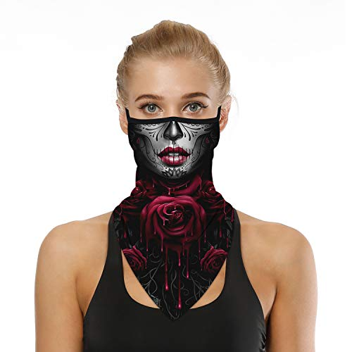 Ainuno Skull Mask with Ear Loops Funny Halloween Mask for Women Sexy Skull Printed Skeleton Mask Cute Neck Gaiter Face Bandana Mask Face Cover Scarf Wrap Sugar Skull,Sexy Skull Mask Funny Costume