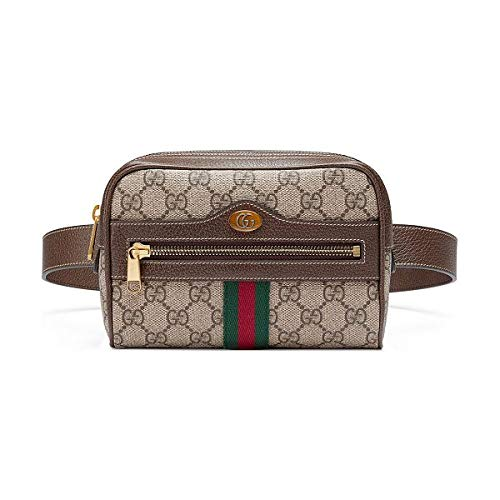 Gucci's coveted taupe-grey Ophidia iPhone belt bag is instilled with classic house codes for a vintage feel. Made in Italy, it's printed with the archive GG Supreme logo and accented with the iconic navy and red Web stripes, then is finished with pol...