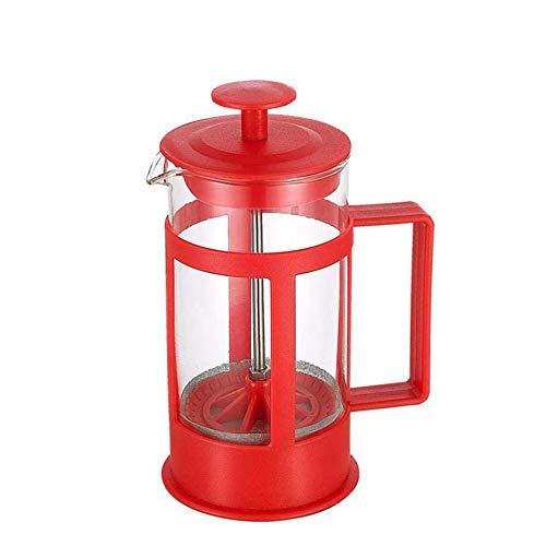 Layla Beauty Store Filtern Sie Kaffeekanne 304 Materialfilter-Gerät Glaspresse Topf Kaffee Artefakt Große Kapazität Manuelle Stempel Kaffeekanne, Um Zu Verhindern, Scald,Rot