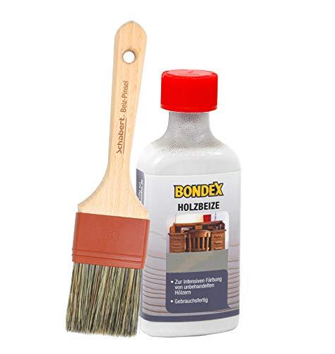 Bondex Holzbeize inkl. Beizpinsel, Wasserbeize in 20 Farbtönen zur Auswahl (250 ml, grau)