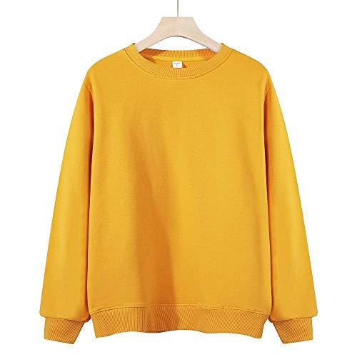 HYLLGI Sudadera de forro polar con cuello redondo para hombre y mujer Cuello redondo para mujer, color amarillo. XL