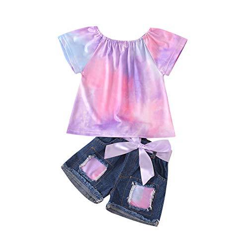 Julhold Tie-dye - Conjunto de camiseta y pantalones cortos de mezclilla con lazo