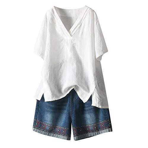 VEMOW Camisetas Mujer Tops Camisa Blusas de Manga Corta de algodón y Lino con Cuello en v para Mujer Blusa(Blanco,2XL)