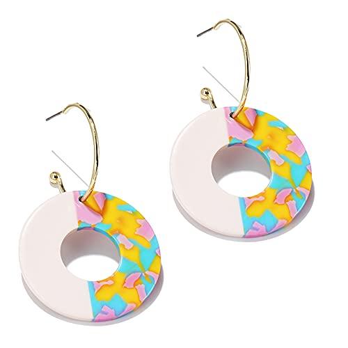 1 pieza de pendientes de aro pequeños para niñas con forma de círculo acrílico multicolor