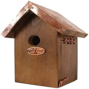 Esschert Design NK06 20 x 14 x 11cm Wood Wren Nest Box Copper Roof - Brown