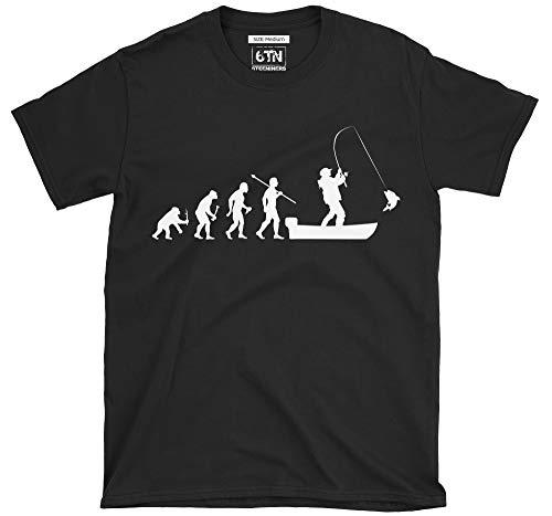 6TN evolución del Hombre a Barco Pesca Camiseta de Manga Corta - Negro, XX-Large