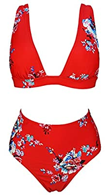 COCOSHIP Women's Retro Lush Floral High Waisted Bikini Set Deep V-Neckline Top Concise Swimsuit(FBA)