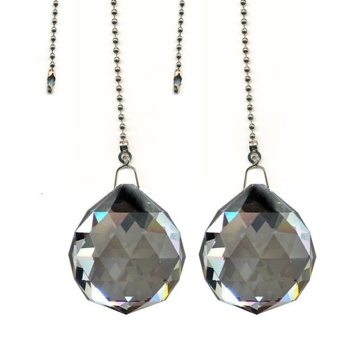 Magnificent Crystal 40mm Satin Crystal Ball Prism 2 Pieces Dazzling Crystal Ceiling Fan Pull Chain
