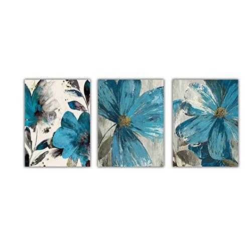 Cuadro en lienzo de flores azules Vintage, póster abstracto, vida floreciente, impresión...