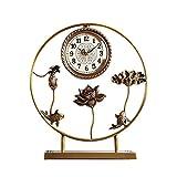 Tingting1992 Alarm Clock Household Clock Mute Table Clock Brass Table Clock Living Room Bedroom Decoration Desktop Ornaments Table Clock Desk Clock (Size : A)