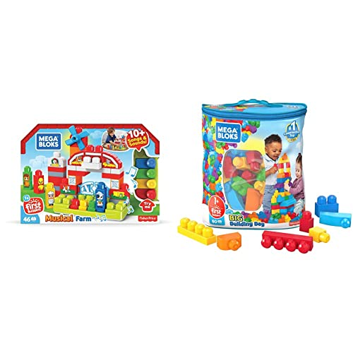First Builders Big Building Bag AND Mega Bloks Musical Farm