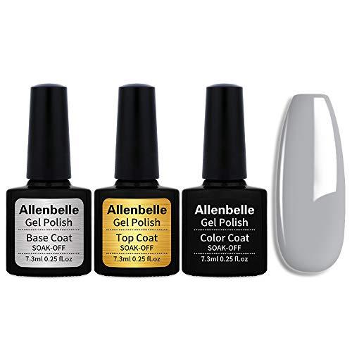 Allenbelle (Base & Top Coat + one colore) Smalto Semipermanente Nail Polish UV LED Gel Unghie Base Coat&Top Coat (Kit di 3 pcs 7.3ML/pc) (1441)