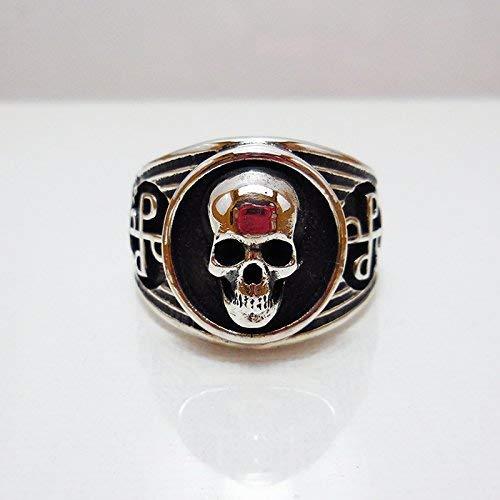 New Real 925 Sterling Silver Ring Men/'s Skull Adjustable Size 8 9 10 11