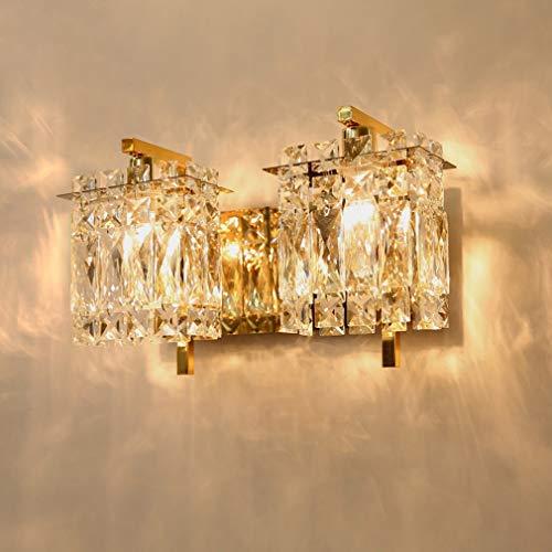 OMGPFR Luces de Pared de Cristal nórdico, lámpara de Pared LED de Lujo clásico Moderno Creativo Dormitorio luz de Noche para Aplique de Pared de Sala de Estar, Bombillas E14,Oro,B
