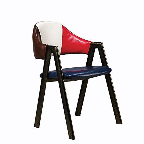 YINGGEXU Silla de comedor Silla de comedor 2 sillas Cafe Tea restaurante silla del ocio de alta densidad de esponjas de madera maciza sillas de comedor Silla de cocina (Color: Multi-color, tamaño: 48c