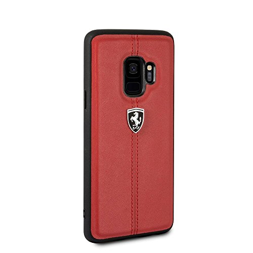 Ferrari Genuine Leather Case for Samsung Galaxy S9 Hard Cell Phone Cover Slim Fit with Contrasting Red Stitching finishes Easy Snap-on Shock Absorption Cover Officially Licensed. (Red)