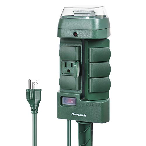 DEWENWILS Outdoor Mechanical Power Stake Timer, Waterproof, 6 Grounded Outlets(3 180