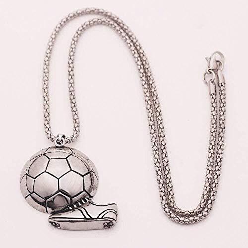 NC110 Anhänger Halskette Fußballschuhe Turnschuhe Fußball Schmuck Link Kette für Männer Sport Mode Charme Geschenk-Silber YUAHJIGE