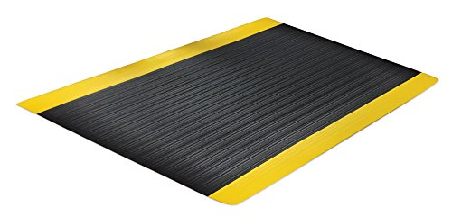 Comfort Step 3/8' Anti-Fatigue Mat with Ribbed Emboss, Black with Yellow Border, 3' x 5'