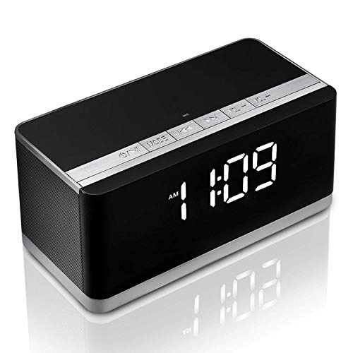 Portable Bluetooth Speaker,Wireless Hi-fi Speaker,Stereo Sound Speaker with Alarm Clock,10W HD Sound,FM Radio,Bold Bass,Sleeping Mode,Hands-Free, 8H Playtime for Smart Phone,iPhone, iPad,Samsung
