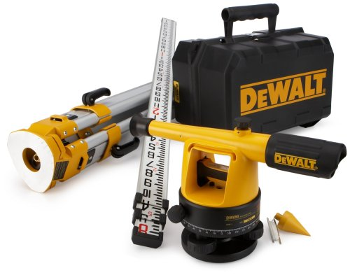 DEWALT Builder Level Tool with Tripod and Rod, 20X Magnification (DW090PK)