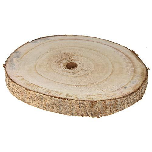 MACOSA Baumscheibe Naturbelasse Paulownia-Holzscheibe Rund Deko Platte 25 cm Holz Deko-Tablett Tisch-Deko Servierplatte Accessoire Dekotablett