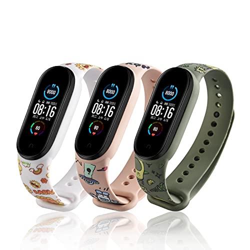 LETEASE Correas para Xiaomi Mi Band 5 / Mi Band 6 / Amazfit Band 5, Pulsera Reloj Silicona Banda Compatible con Xiaomi Mi Band 5, Personalizados Correa de Pulsera para Xiaomi Smart Band 5 (3 Piezas)