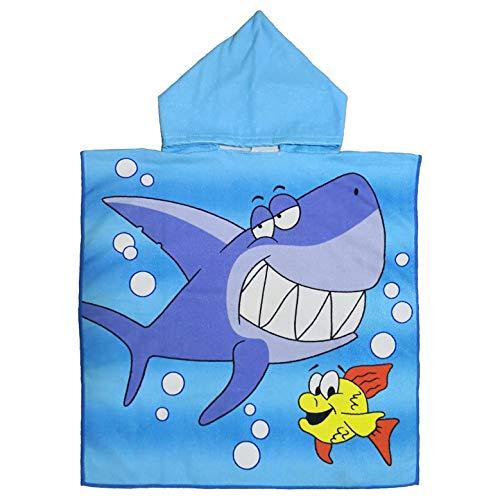 YZCX Asciugamano con Cappuccio in Cotone, Asciugamani da Bagno, Nuoto, Spiaggia, Accappatoi Telo Mare per Bambini (Squalo Blu)