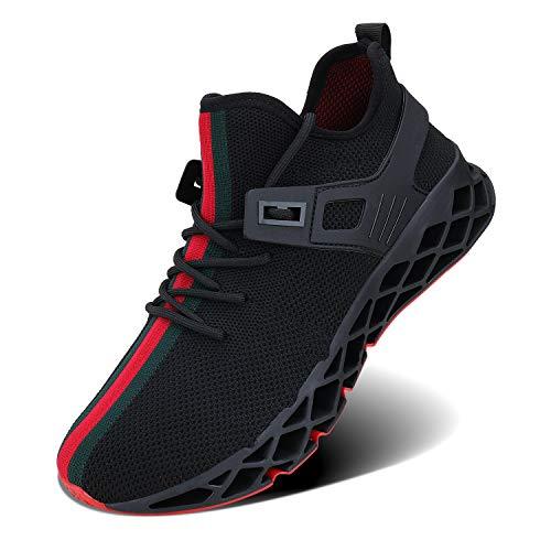 Wonesion Herren Fitness Laufschuhe Atmungsaktiv Rutschfeste Mode Sneaker Sportschuhe, ,, F-schwarz, 41 EU