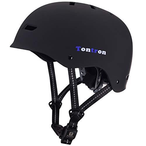 Tontron Skaterhelm Fahrradhelm BMX Helm mit Magnetischer Verschluss (Matte Black Forest, Large)
