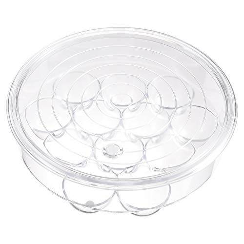 Hemoton Caja de huevos de plástico para nevera, cocina, redondo, bandeja de huevos, congelador, contenedor de almacenamiento con tapa para nevera, cocina, restaurante