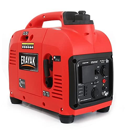 ERAYAK 1KW発電機インバーター 静音 家庭用超低騒音型 小型軽量 50hz/60hz 切り替え 正弦波 ガソリン 発電機 定格出力0.9KVA EIG1000P 防災用 電気 ポータブル発電機