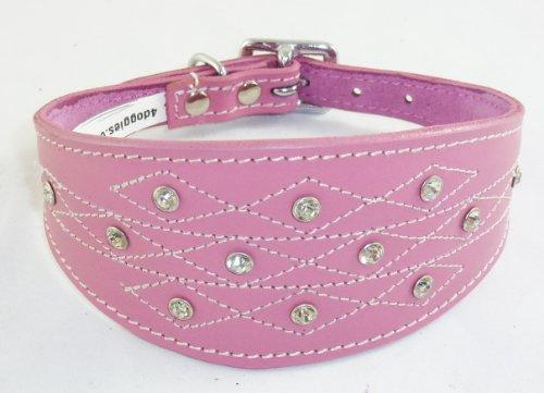 4doggies Collier en cuir pour chien lévrier Motif imitation diamants/couture apparente Rose 35-43 cm