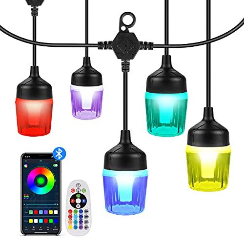 Haisito LED Lichterkette Außen Strom, 15M Lichterkette Innen Outdoor RGBW Dimmbar, mit Fernbedienung und APP, 15 ABS Birne Sturzfest IP65 Wetterfest, für Zimmer, Balkon, Terassen, Garten, Party (Bunt)