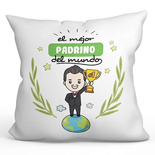 MUGFFINS Cojín Padrino -Familia Mundo -Regalos Originales y Divertidos para Decoración -Cojín: Relleno + Funda (40x40 cm). Tacto algodón