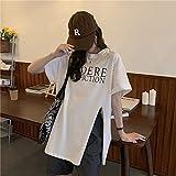 LYHMHZ T Shirt para Mujer 2021 Verano Suelto Manga Corta Camisetas Camisetas De tee Hembra Dividir Tops Sueltos (Color : White, Size : One Size)