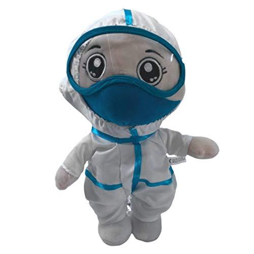 NUOBESTY Muñeco de Peluche Médico Enfermera Mono con Máscara Y Gafas de Peluche de Dibujos Animados para Niños Recuerdo de Oficina Regalo de Cumpleaños Adornos de Escritorio Decoraciones