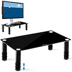 ELZO Supporto per Monitor in vetro, robusto, design antiscivolo-Supporto per Laptop Ergonomico Regolabile in Altezza per PC/Laptop/Mac/Porta Stampante / PS4 / TV, Nero
