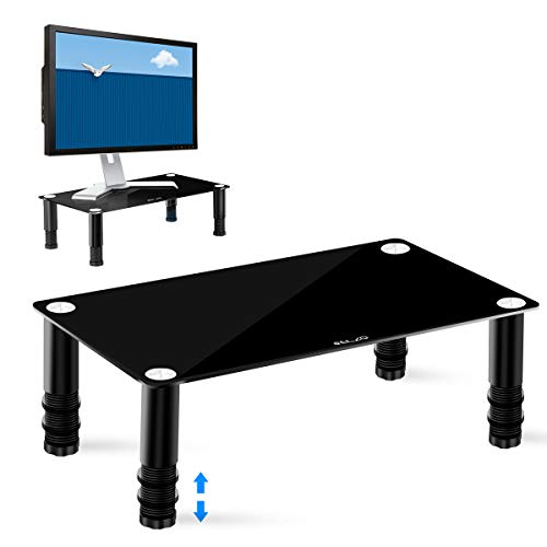 ELZO Soporte Elevador para Monitor de Ordenador, Altura Ajustable Resistente Elegante Portátil Diseño Antideslizante, Soporte de Escritorio para PC/Ordenador Portátil/Impresora/ PS4/ Televisores