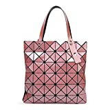 XYAZ Tendencia de moda para mujer bolso de hombro geométrico con costura de cubo de bolso plegable geométrico,Rosado