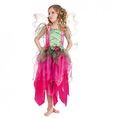 Kinderkostüm pinke Blumenfee Kleid Flügel pink/grün Elfe Garten Fasching (140)