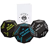 Juliet Paige Exercise Dice Cube for Fitness, Workouts, Crossfit WOD at Home, Cardio, HIIT, and Sports with Exercise Illustration Booklet (Bright Green, Light Blue, and Light Grey)