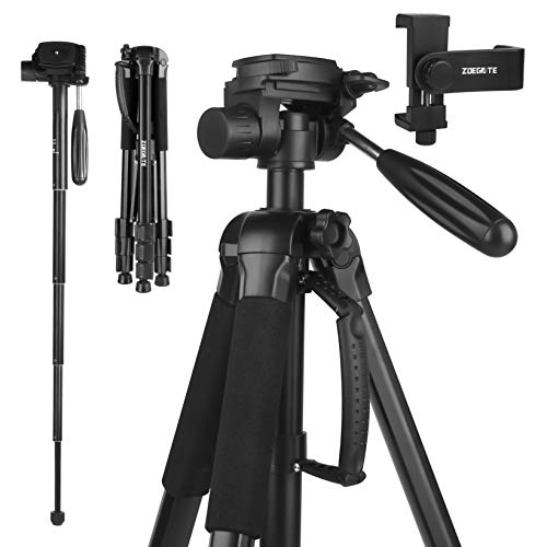 Fazusen Fotostativ 177 cm Leichtes Aluminium Kamera Stativ mit Handyhalterung und Einbeinstativ mit 3-Wege-Schwenkkopf 360° Panorama-Fotostativ für DSRL Sony Canon Nikon Digitalkamera