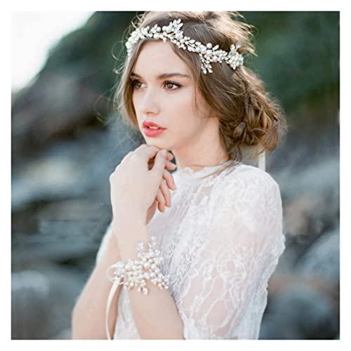 Tiara d' argento alla moda perla perla fascia da sposa tiara for accessori for capelli sposa accessori perla fatti a mano braccialetto donna gioielli iaria DAGUAI (Size : Pearl Headband)
